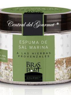 Espuma de sal marina gourmet a las hierbas provenzales Bras del Port 100 gr La espuma a las hierbas provenzales, se elabora añadiendo una mezcla de hierbas provenzales a la espuma de sal natural.