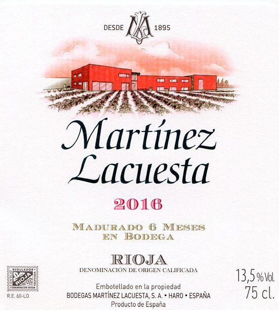 Martinez Lacuesta tinto Rioja cosecha 2016 etiqueta