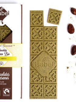 Tableta Chocolate blanco con menta ecologico Isabel