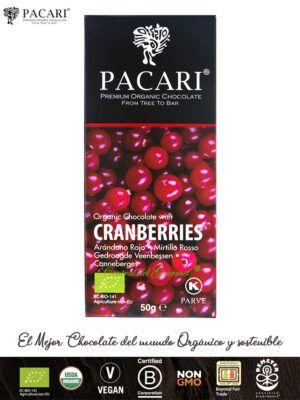 PACARI Chocolate Premium Ecológico con Arándanos rojos