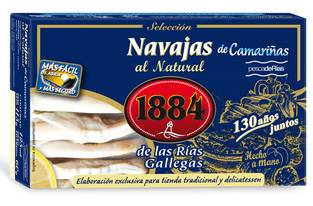 Conservas 1884 Navajas al Natural Gourmet lata 115 gr