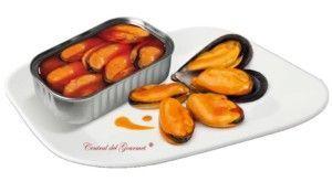 Presentación Conservas Areoso mejillones gourmet 6/8 en escabeche de las Rías Gallegas, lata 125gr