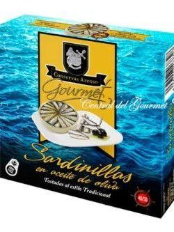 Conservas Areoso sardinillas gourmet en aceite oliva 40/50 de las Rías Gallegas, lata grande de 280ml
