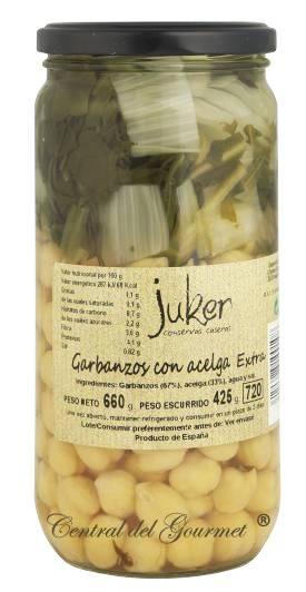 Garbanzos con Acelgas Extra, Juker,tarro 720gr