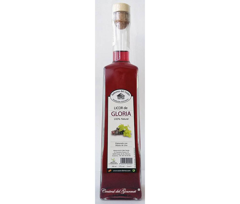 Licor de Gloria 100 % natural, artesano de Sabores del Guijo, botella 500ml