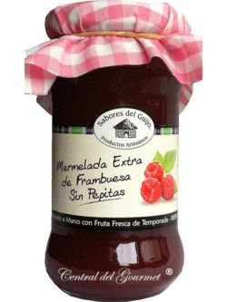 Mermelada de Frambuesa extra sin pepitas artesana de Sabores del Guijo, tarro 400ml