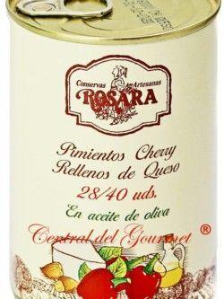 Conservas Rosara Pimientos Cherry relleno con Queso, lata 28/40 unidades 390gr