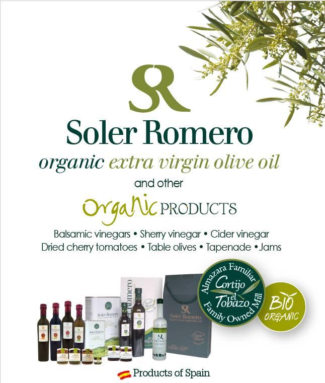 Soler Romero produce Aceite de Oliva Virgen extra ecológicos, y también otros alimentos orgánicos.