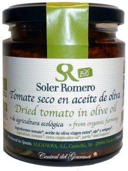 Tomate Ecológico Secos Cherry con Aceite de oliva Virgen Extra ,Soler Romero, tarro 240 gr